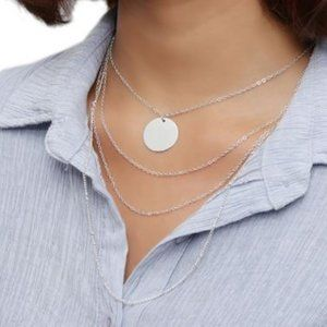 Multi-layered Coin Necklace (Silver)